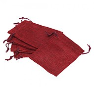 5PCS 130x90mm Luxury Red Linen Wedding Party Favor Jewelry Gift Pouch Bags