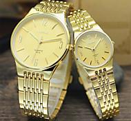 Herren Damen Paar Kleideruhr Quartz Armbanduhren für den Alltag Legierung Band Silber Gold Schwarz Silber Golden