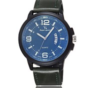 Men's leather belt quartz watch calendar