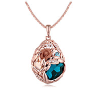 Austria Crystal Water Drop Shape Pendant Necklace,Fine Jewelry