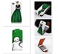 Figure Patten Up-down Turn Over PU Leather Full Body Case for iPhone 4/4S