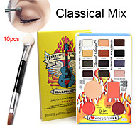 16pcs Professional Eyeshadow Palette + 10PCS Dual Sponge Stick(Eye Shadow Brush + Lip Brush)