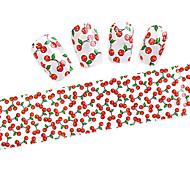 10pcs  100cmx4cm  Red Cherry Glitter  Nail Foil Sticker  DIY Beauty  Nail Decorations  Sticker STZXK01-49