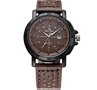 Men's Fashion Date  Analog Display Leather Band Quartz Watch