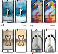 "iPhone 6/6S Body Art Skin Sticker: ""Penguin, Colorful Swan, Kiss of Swans"" (Animals Series)"