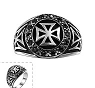 Fashion Generous Men's Black Cubic Zirconia Cross Stainless Steel Ring(Black)(1Pc)