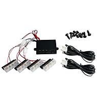 conjunto de 4x3 coche de 12 LED de luz blanca flash estroboscópico intermitente de emergencia