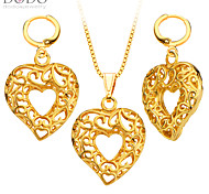 Unique Hollow Out Jewelry Set women Pendants Necklaces Earrings 18K Gold Plated India Jewelry Sets Gifts S20138