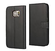 Pour Samsung Galaxy Coque Portefeuille Avec Support Clapet Coque Coque Intégrale Coque Couleur Pleine Cuir PU pour Samsung S7