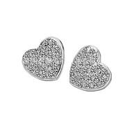 Luxury Stud Earrings for Women Vintage Micro Insert Heart Earrings Fashion Jewelry Accessories Silver Plated