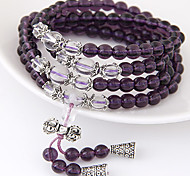 Women's Fashion Crystal Stone Beaded Multilayer Charm Bracelet