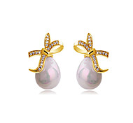 Full Austria Crystal Stud Earrings for Women Imitation Pearl Bow Earrings Fashion Jewelry Accessories