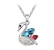 Women Necklace ELegant Clean Crystal Swan Pendant Necklace(Assorted Color)
