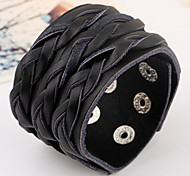 Punk Leather Belt Well Kniting Wide Band Bracelets 1pc