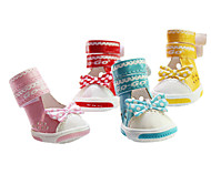 Dog Shoes & Boots Fashion Red / Blue / Pink / Yellow Spring/Fall PU LeatherDog Shoes