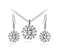 T&C Women's 18K White Gold Plated Big Sparkling Top Cubic Zirconia Diamond Pendant Necklace and Dangle Earrings Sets