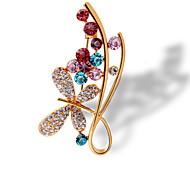 moda cor 18k broche de cristal de ouro