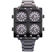 Men's Military Fashion Four Time Zones Black Steel Band Quartz Watch Cool Watch Unique Watch