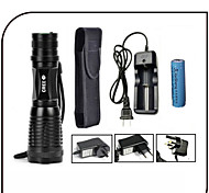 CREE LED Flashlights/Torch 5 Mode 1000 lumens Adjustable Focus / Waterproof / Rechargeable / Self-Defense