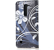White Flower Magnetic PU Leather wallet Flip Stand Case cover for LG K7 LG Tribute 5