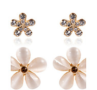 18k Gold Plated Opal Flower Security Quality Stud Earrings Jewelry for Wedding Party