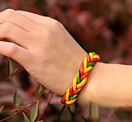 Vintage Red  Yellow Green Genuine Leather Knitting Bracelet