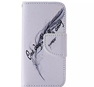 English Feather Painted PU Phone Case for iphone5SE