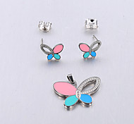 Europe and the United States fashion 316 stainless steel Color Butterfly Silver Earrings set does not contain a necklace