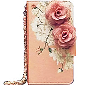 Luxury Pink Flowers Pattern Leather Mobile Phone Case For iPhone 6/6S