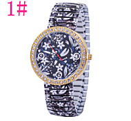 Ladies' Fashion Watch Retro Print Drawstring Diamond Watches Quartz Watch Heart-Shaped Red Stripes