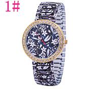 Ladies' Fashion Watch Retro Print Drawstring Diamond Watches Quartz Watch Heart-Shaped Red Stripes Cool Watches Unique Watches