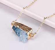 Natural crystal agate irregular geometric pendant necklace