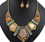 Jewelry Set Turquoise Alloy Simulated Diamond Rainbow Wedding Party 1set Necklaces Earrings Wedding Gifts