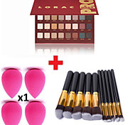 32pcs Makeup Brushes Set Eyeshadow Eyeliner Lip Brush Tool+10Colors Matt Eyeshadow Palette+1PCS Beauty Sponge