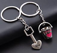 A Pair (1Pair=1Pc Shovel + 1Pc Bucket) Heart Bucke Couple Key Ring Lover Key Chain
