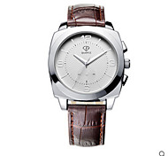 Men's  White Case Brown Black/Brown Leather Band Wrist Dress Watch Jewelry for Couple