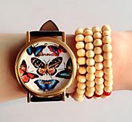 carta relógio relógios moda feminina, relógio de genebra, colorido relógio de pulso borboleta, relógio de couro, dom idéia