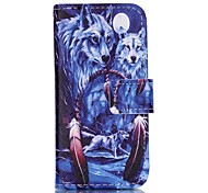 Wolf gemalt Fall PU-Telefon für iphone5se