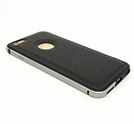 Protective Metal Bumper Frame with Genuine Leather Back Cover for iPhone 6S/6 (Assorted Colors)