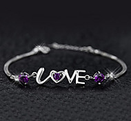 S925 Pure Stering Silver AAA LOVE Shape Bracelet,Fine JewelryImitation Diamond Birthstone