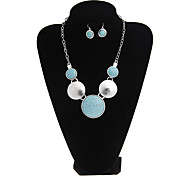 Europe And The United States National Style Retro Turquoise Dot Silver Jewelry Set