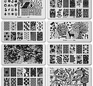 6pcs imagem da arte do prego de DIY renda preta flor ferramenta de design de equipamento carimbo de carimbar placas modelo de manicure