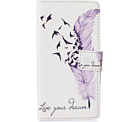 White Feather Birds Around Open Holster for LG Leon H340N/LG manga H502/LG spirit H 422