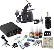 Basekey Tattoo Kit JH556  1 Machine With Power Supply Grips 3x10ML Ink