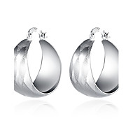 lureme®Fashion Style Silver Plated Geometry Shaped Hoop Earrings