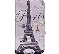 Cross Pattern Phone Leather Wallet Case for Wiko Lenny2 - Paris Eiffel Tower