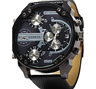Men's Military Fashion 4 Time Display Leather Band Quartz Watch Cool Watch Unique Watch