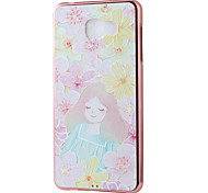Flowery Girl Mirror Surface Relief Frame TPU for Samsung A7(2016)