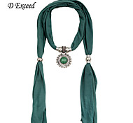 D Exceed Hot Sale Elegant Jewelry Dark Green Scarf Necklace with Stone Tassels Pendant for Women Scarves Female
