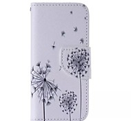 Black Dandelion Painted PU Phone Case for iphone5SE